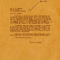 Letter from Joshua  Coffin Chase to A. M. Taylor (April 1, 1922)