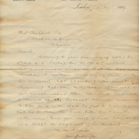 Letter from Gray Dawes and Company to Henry Shelton Sanford (August 5, 1887)