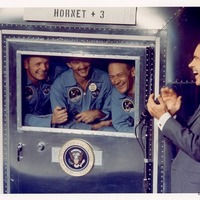 Quarantined Apollo 11 Crew with President Richard Nixon Aboard the USS Hornet