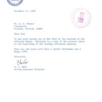 Letter from A. C. Hahn to Lucius A. Bryant, Jr. (December 17, 1968)