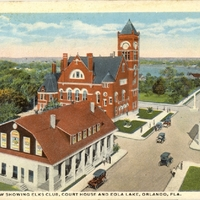Bird's Eye View Showing Elks Club, Court House and Eola Lake Postcard
