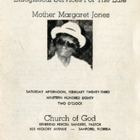 Eulogistical Services For the Late Mother Margaret Jones