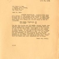 Letter from Joshua Coffin Chase to Frank P. Lum (April 26, 1928)