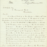 Letter from A. W. Macfarlane to F. R. Shelton (January 21, 1885)