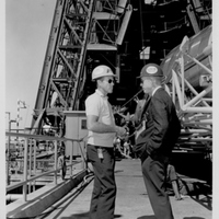 Astronaut Gordon Cooper and Dr. Calvin D. Fowler at Cape Canaveral Air Force Station Launch Complex 14