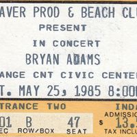 Bryan Adams Ticket Stub