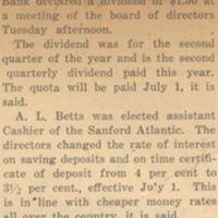 Melon is Cut by Bank Directors: Sanford Atlantic Bank Declares a Dividend