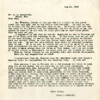 Letter from Randall Chase to A. Q. Lancaster (August 9, 1919)