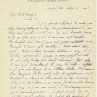 Letter from E. R. Trafford to Henry Shelton Sanford (September 11, 1883)