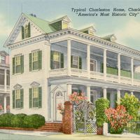 Typical Charleston Home Postcard