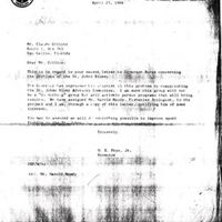 Letter from O. E. Frye, Jr. to Claude Collins (April 25, 1966)