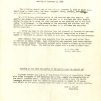 Minutes of Monthly Meeting, December 5, 1958 and January 19, 1958