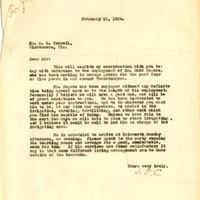 Letter from Joshua Coffin Chase to S. M. Crowell (February 15, 1929)
