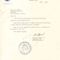 Letter from Alan Shepard to Dr. Calvin D. Fowler (August 2, 1963)