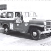 Postal Willys Wagon at the Dixie Village Post Office, 1958