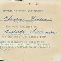 Westside Grammar Elementary School Notice of Pupil Assignment for Christine Kinlaw, 1963-1964