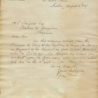 Letter from Gray Dawes and Company to Henry Shelton Sanford (August 15, 1887)
