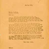 Letter from Joshua Coffin Chase to Sydney Octavius Chase (May 13, 1929)