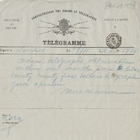 Telegram from William MacKinnon to Henry Shelton Sanford (November 29, 1879)