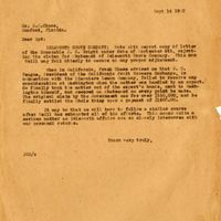 Letter from Joshua Coffin Chase to Sydney Octavius Chase (September 14, 1923)