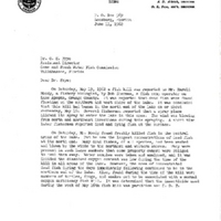 Letter from Harold L. Moody to O. E. Frye, Jr. (June 11, 1962)