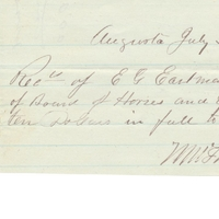 Receipt of Payment for Edwin G. Eastman from M. Thayer (July 20, 1871)