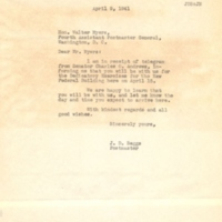 Letter from James D. Beggs, Jr. to Walter D. Myers (April 9. 1941)