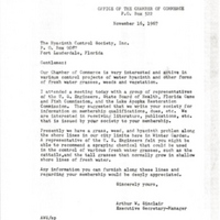 Letter from Arthur W. Sinclair to the Hyacinth Control Society, Inc. (November 16, 1967)