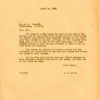 Letter from Joshua Coffin Chase to S. M. Crowell (April 23, 1931)