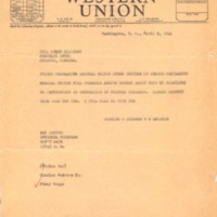 Telegram from Charles O. Andrews to James Milligan (April 9, 1941)