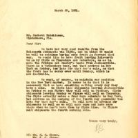 Letter from Randall Chase to Corbett Hutchinson (March 20, 1931)