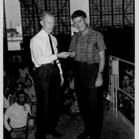 Dr. Cal Fowler Presenting Wally Schirra with Launch Key