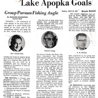 Citizens, Experts Set Lake Apopka Goals: Group Pursues Fishing Angle