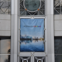 Orlando United Banner at Orlando City Hall