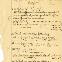 Sanford High School Algebra Assignment, 1907