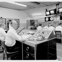 Dr. Calvin D. Fowler at the Cape Canaveral Air Force Station Launch Complex 14 Blockhouse's Launch Conductor Console