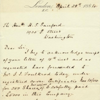Letter from A. W. Macfarlane to Henry Shelton Sanford (April 28, 1884)