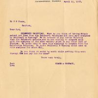 Letter from Joshua Coffin Chase to Sydney Octavius Chase (April 15, 1911)