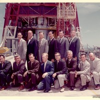 Project Mercury Test and Launch Engineers in Front of Mercury-Atlas 1