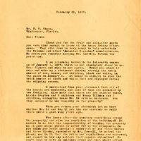 Letter from Joshua Coffin Chase to Franklin W. Chase (February 20, 1937)