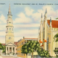 Church Street, Showing Huguenot and St. Philip's Church Postcard