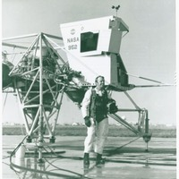Astronaut Alan Shepard with a Lunar Landing Training Vehicle