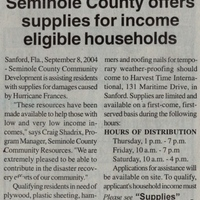 Seminole County Offers Supplies for Income Eligible Households
