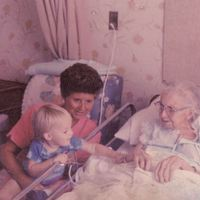 Bettye Jean Aulin Reagan and James Phelps Richardson Visiting Mary Alice Powell Aulin at the Winter Park Hospital
