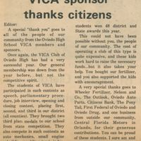 Letters From the People: VICA Sponsor Thanks Citizens