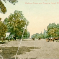Madison Street and Stuart's Hotel Postcard