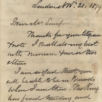 Letter from William MacKinnon to Henry Shelton Sanford (November 21, 1879)