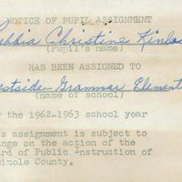 Westside Grammar Elementary School Notice of Pupil Assignment for Christine Kinlaw, 1962-1963
