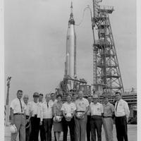 Launch Crew Members in Front of Sigma 7 Mercury-Atlas Launch Vehicle at Cape Canaveral Air Force Station Launch Complex 14