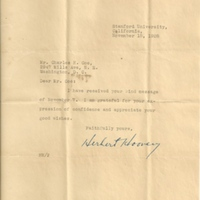 Letter from Herbert Hoover to Charles Henry Coe (November 15, 1928)